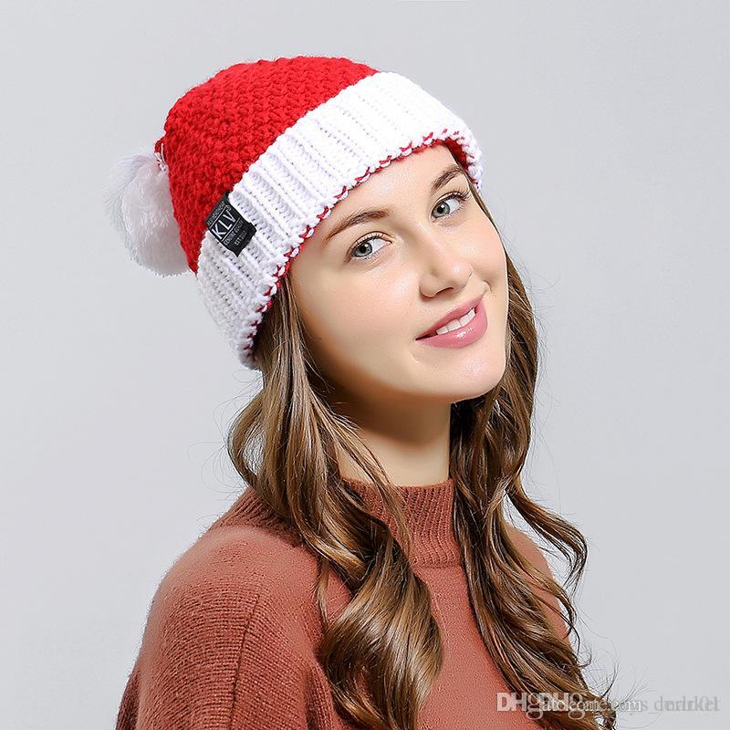 0a222568164 2019 Christmas Party Crochet Hat Beanie Knitted Warm Wool Cap Santa Claus  Xmas Winter Hats Soft Christmas Men Women Kids From Toys market