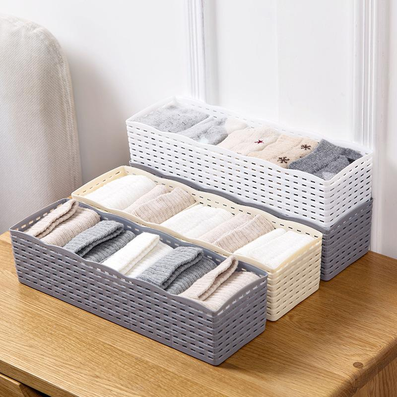 Urijk 5 Grids Wardrobe Storage Box Basket Organizer Women Men Socks Bra Underwear Storage Box Plastic Container Organizer