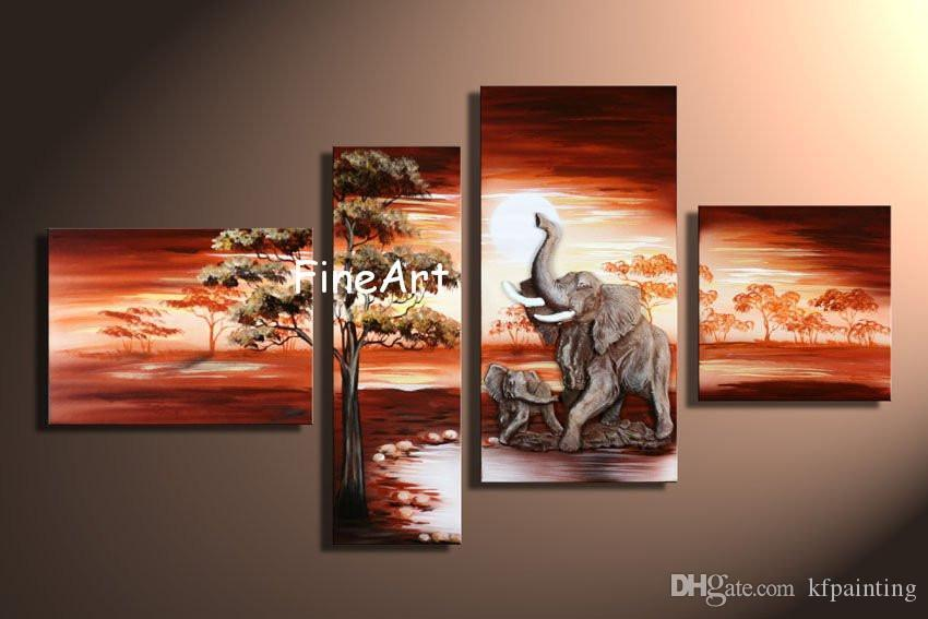handmade oil painting 4 panels wholesale discount african sunset paintings wall decor canvas home decor