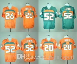 on sale 76500 5e2bc Factory Outlet- Free Shipping Miami Hurricanes Ed Reed 20 Ray Lewis 52 Sean  Taylor 26 New Brand Authentic orange College Football Jerseys