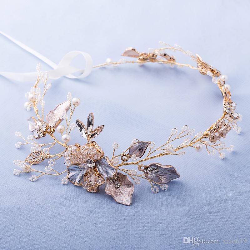 Delicate Gold Pearl Jewelry Headband Tiara Wedding Hair Vine Accessories Handmade Floral Bridal Headpiece Women Headbands