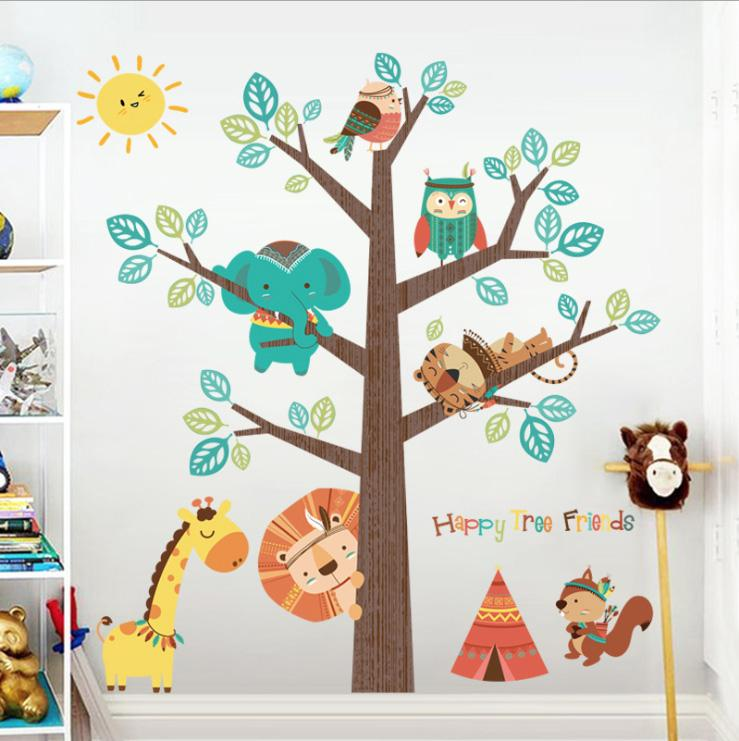 cheap stickers animal tree sticker decals children kids baby room