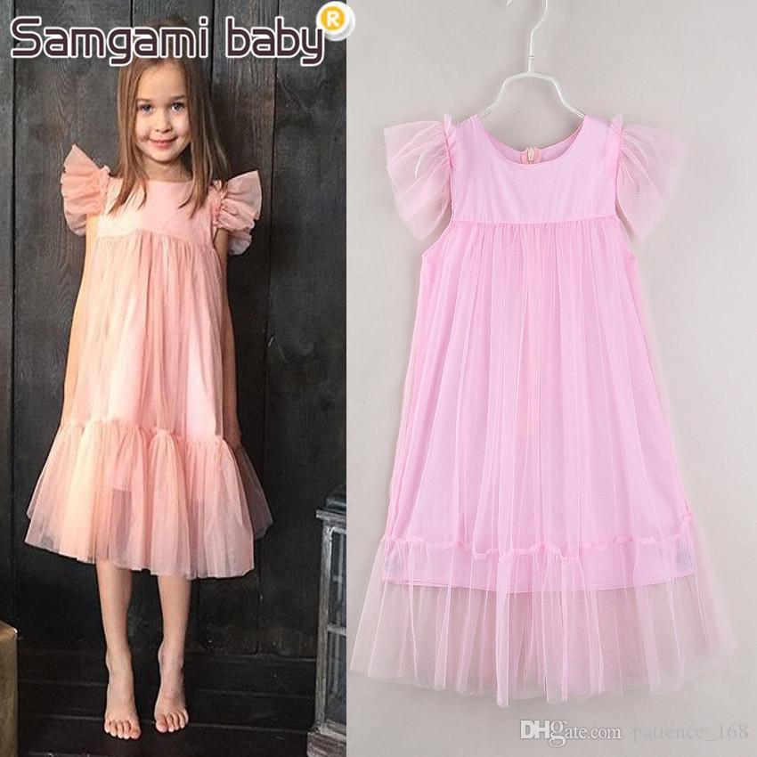 Elbise 2018 INS YENI varış Avrupa ve Amerikan tarzı yaz Kolsuz Saf renk gazlı bez Prenses Elbise çocuklar kızlar elbise 5 renkler