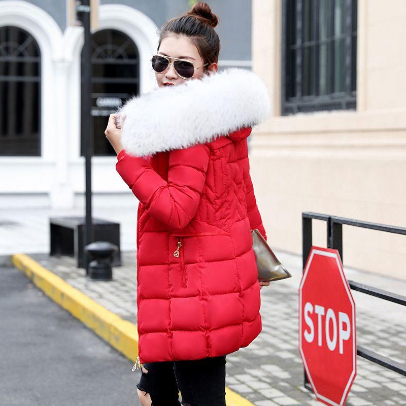 f68ff79fb 2018 Winter Coat Women Fake Fur Collar Warm Woman Parka Outerwear Down  Jacket Winter Women Coat