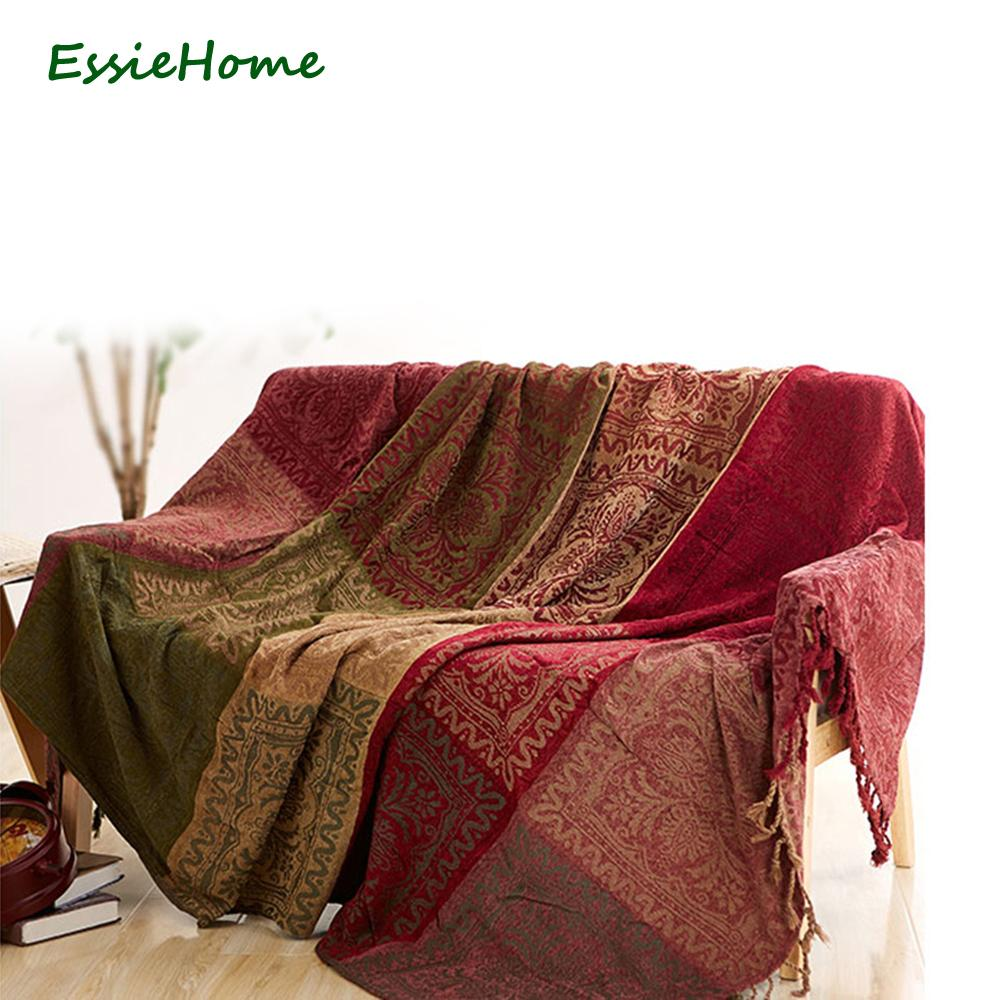 Sofa Blanket Chenille Red Green Bohemia Blanket For Sofa Living Room  -> Tapete Chenille Sala