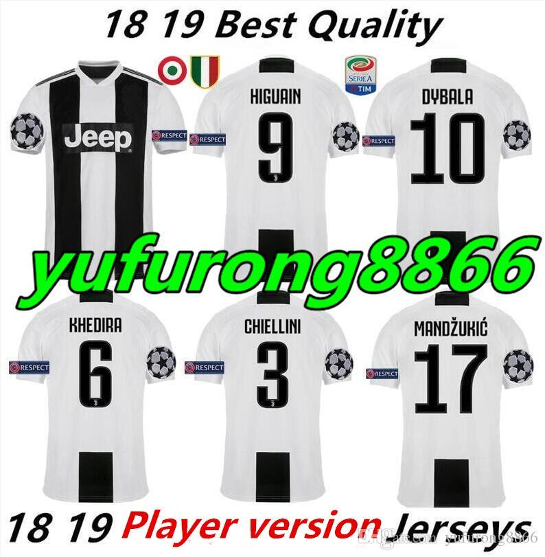 timeless design 239b7 1a5d3 Player version 2018/19 Juventus Dybala Ronaldo Pjanic Higuaín Champions  League Soccer Jerseys 2019 Futbol Camisa Football Shirt Kit Maillot