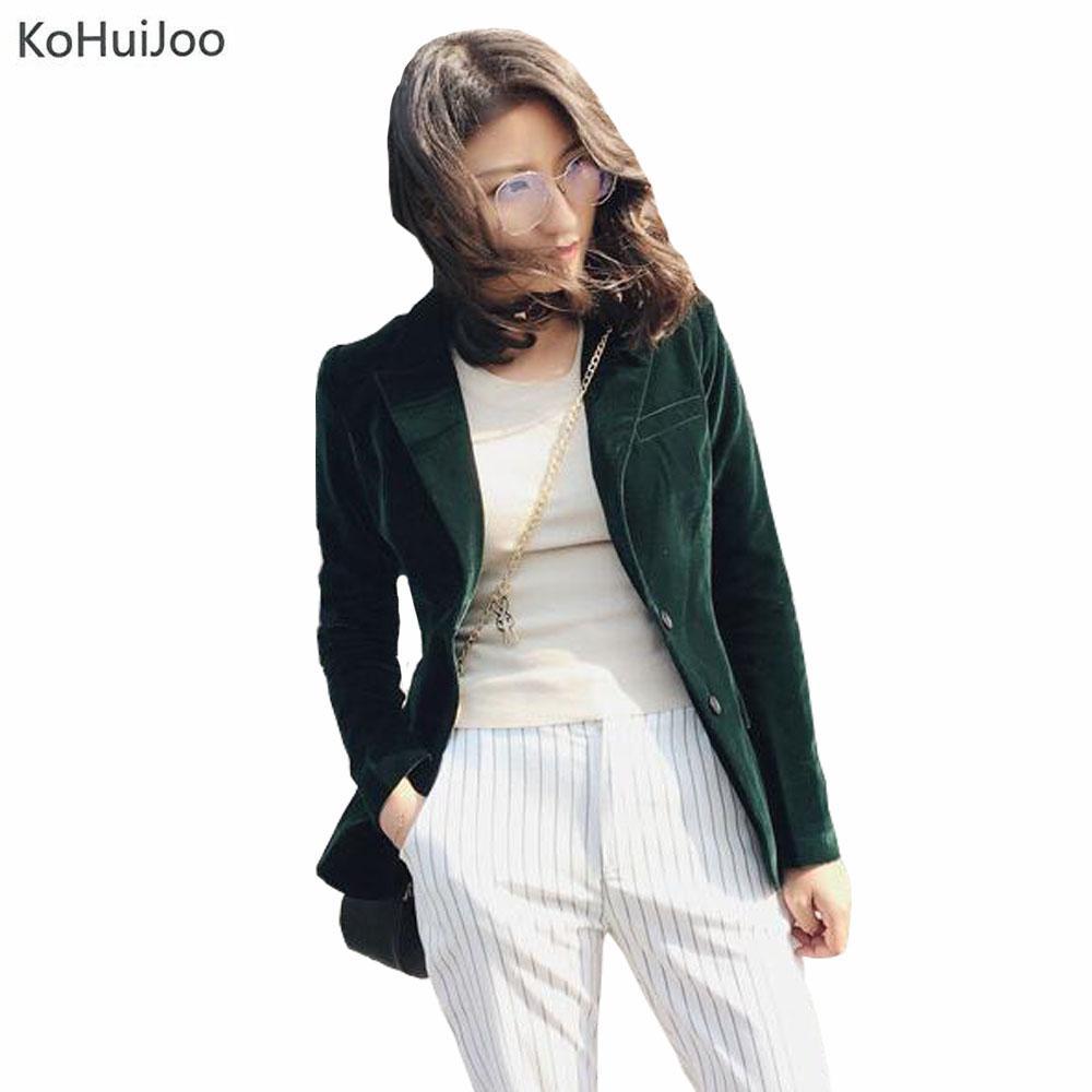 b3be8a3a49c 2019 2018 Spring Fashion Women Velvet Blazer Jackets Green Long Sleeve  Pockets Korea Slim Female Jackets Casual Ladies Office Coat From Beltloop