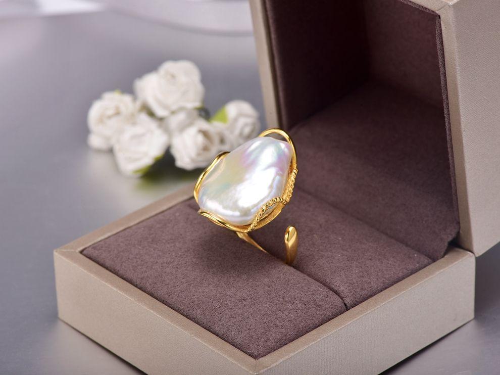 88259c1f7dfe Compre Anillo De Plata 925 20 28 Mm Tamaño Grande Barroco Irregular Anillo  De Perlas A  39.08 Del Kpearljewelry