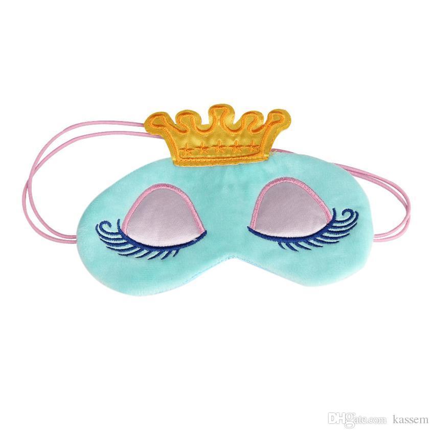 Lovely Pink/Blue Crown Eyeshade Eye Cover Sleeping Mask Travel Cartoon Long Eyelashes Blindfold Cute Eyes Cover Face Care Tool