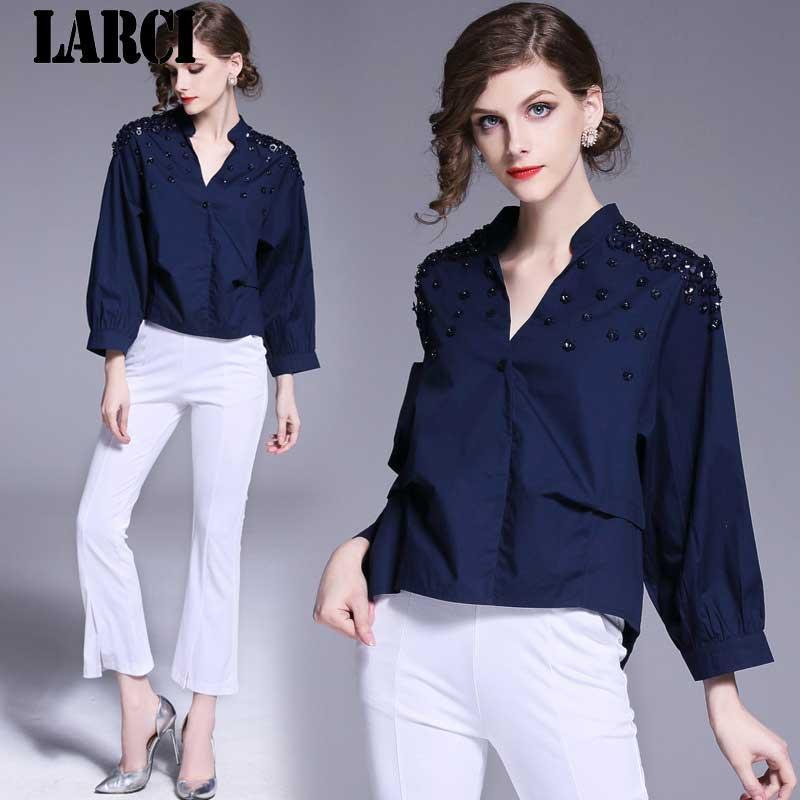 b968b3a5bcc LARCI 2018 Summer Women Vintage Bead Shirt Fashion Chiffon Half Sleeve  Blouse Retro Casual Tops Plus Size Blusas N3064 Blouses   Shirts Cheap  Blouses ...