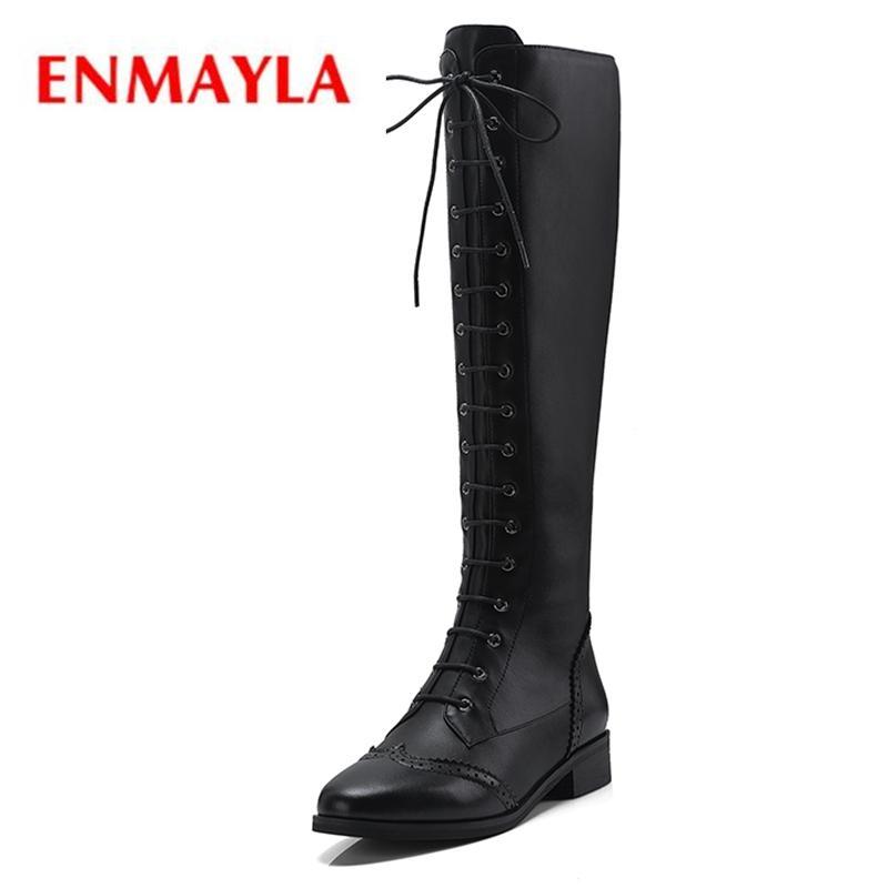 check out 52363 d8b07 ENMAYLA Damen Schuhe Stiefel Damen Schnürschuhe Kniehohe Echtleder  Winterstiefel für Mädchen Größe 34-39 ZYL1405
