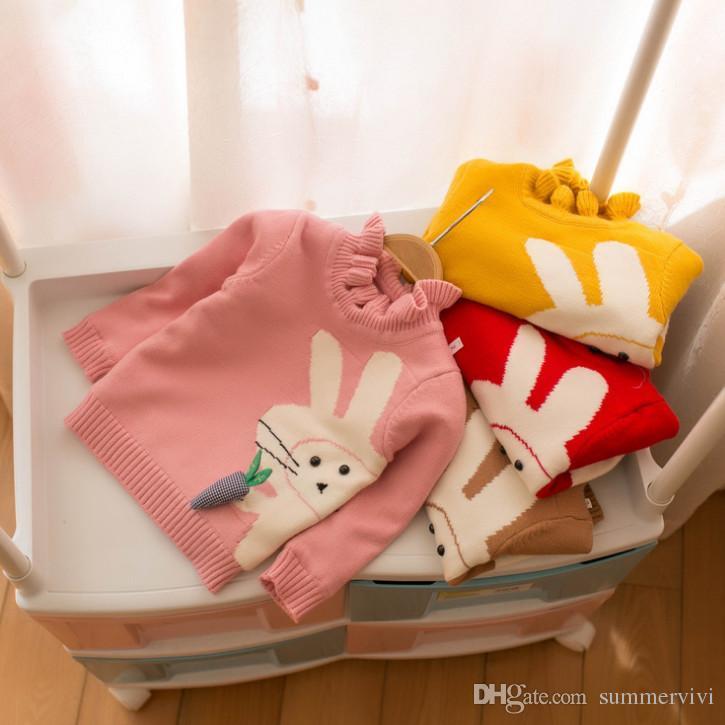 1afba1037 ... Niños Suéter Niñas Dibujos Animados Zanahorias Patrón De Conejo Jersey  De Punto Niños Volantes Cuello De Manga Larga Puente De Invierno Bebé Niña  Ropa ...