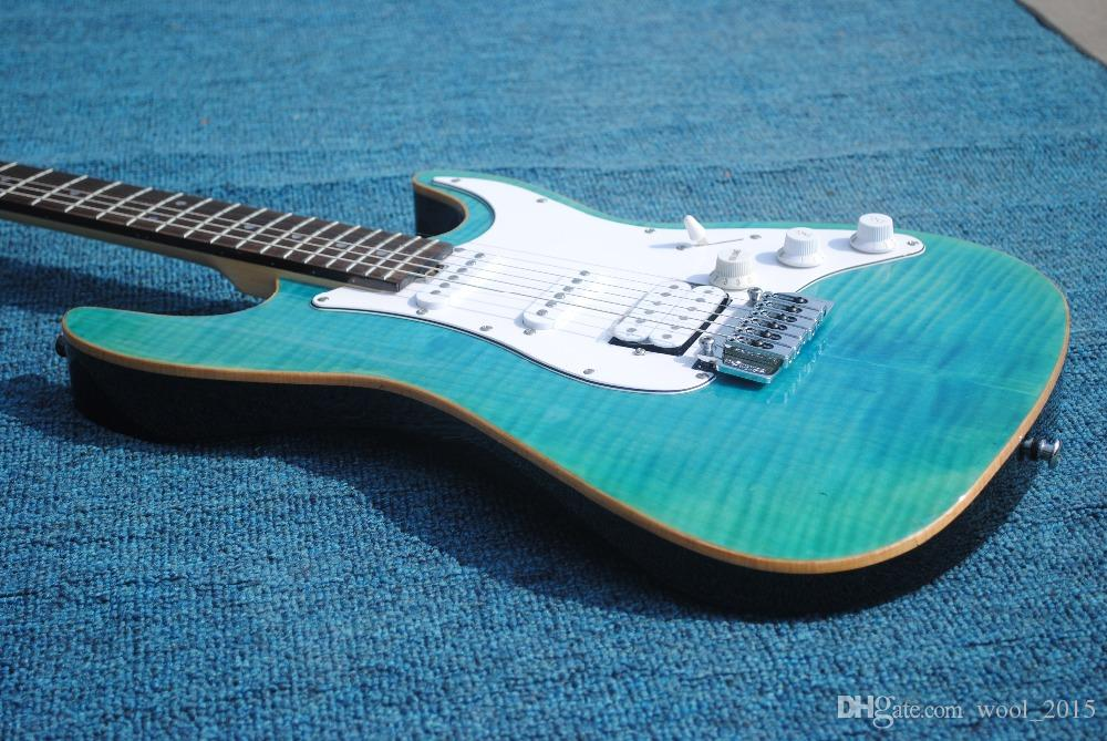 Electric Guitar In 2018 New Arrival Flame Maple Tree Top Light Blue