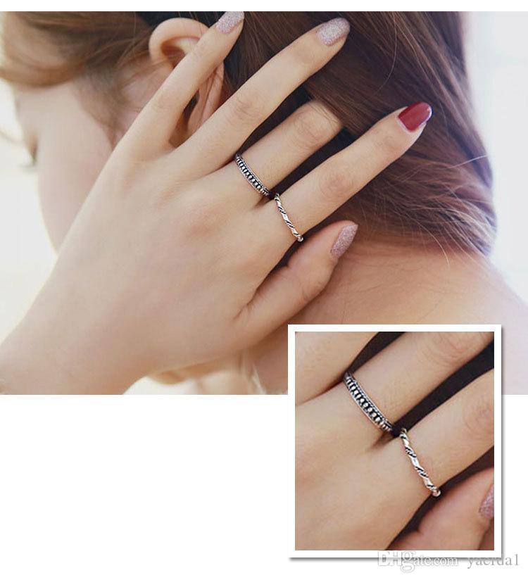 Korean version of the overall S925 sterling silver fashion personality antique retro Thai silver silver ring ring set gold chain necklace