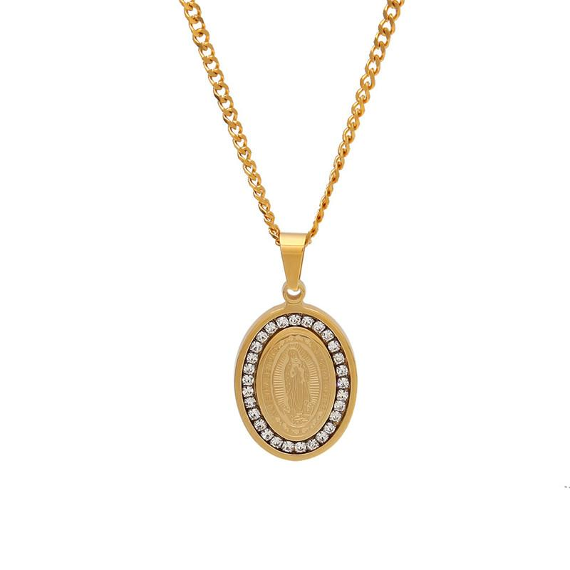 Virgin Mary Oval Dog Tag Pendant Necklace Gold Plated Stainless Steel Inlaid Cubic Zirconia Pendant 60cm Cuban Chain