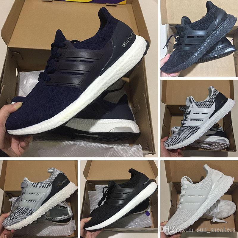 2bfc4b5e3 Acheter Adidas Ultra Boost 3.0 Sneakers Pas Cher 2018 Ultra 3.0 4.0 Hommes Femmes  Chaussures De Course Triple Noir Blanc Oreo Bleu Ultra Bottes Courir ...