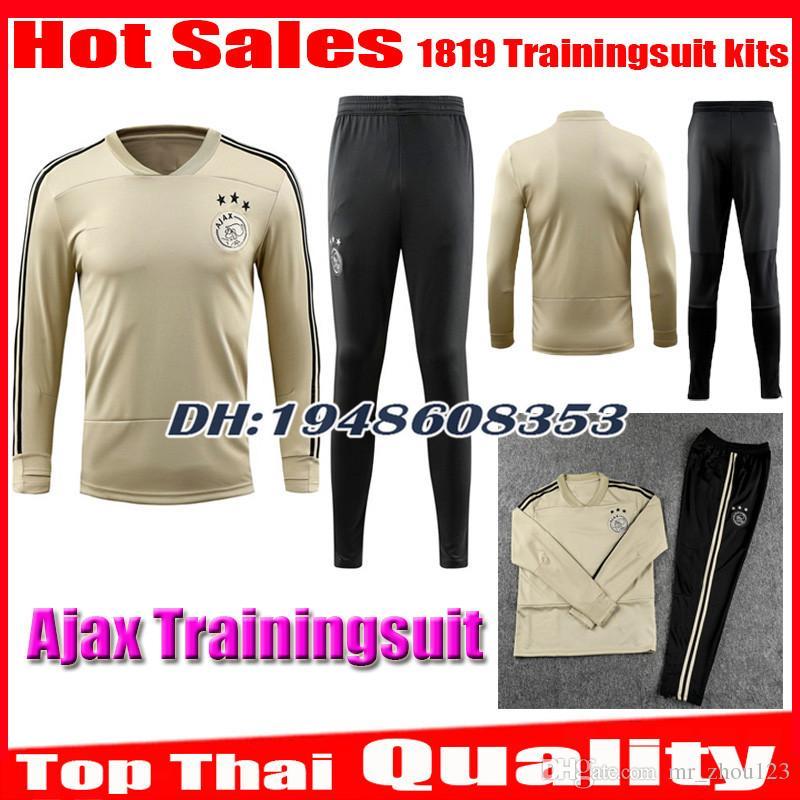 a6d4752a975 2019 2018 2019 Ajax Trainingsuit Kits Tracksuit Long Sleeve Pants FC Soccer  Jersey 18 19 Camisa KLAASSEN FISCHEA DOLBERG MILIK Jerseys Football From ...
