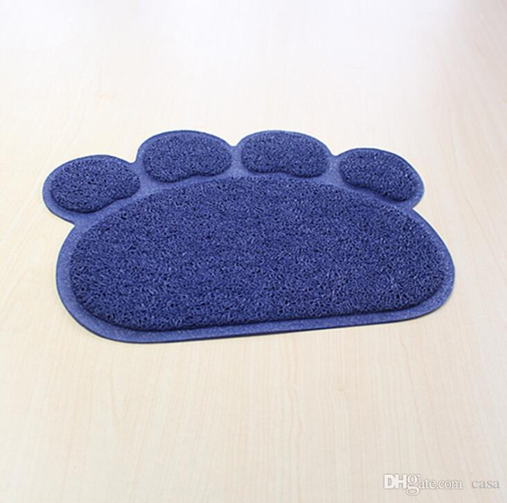 Footprint Foot Sleeping Pad Placemat Cat Litter Mat Dog Puppy Cleaning Feeding Dish Bowl Table Mats PVC Paw Shape Style 30*40cm