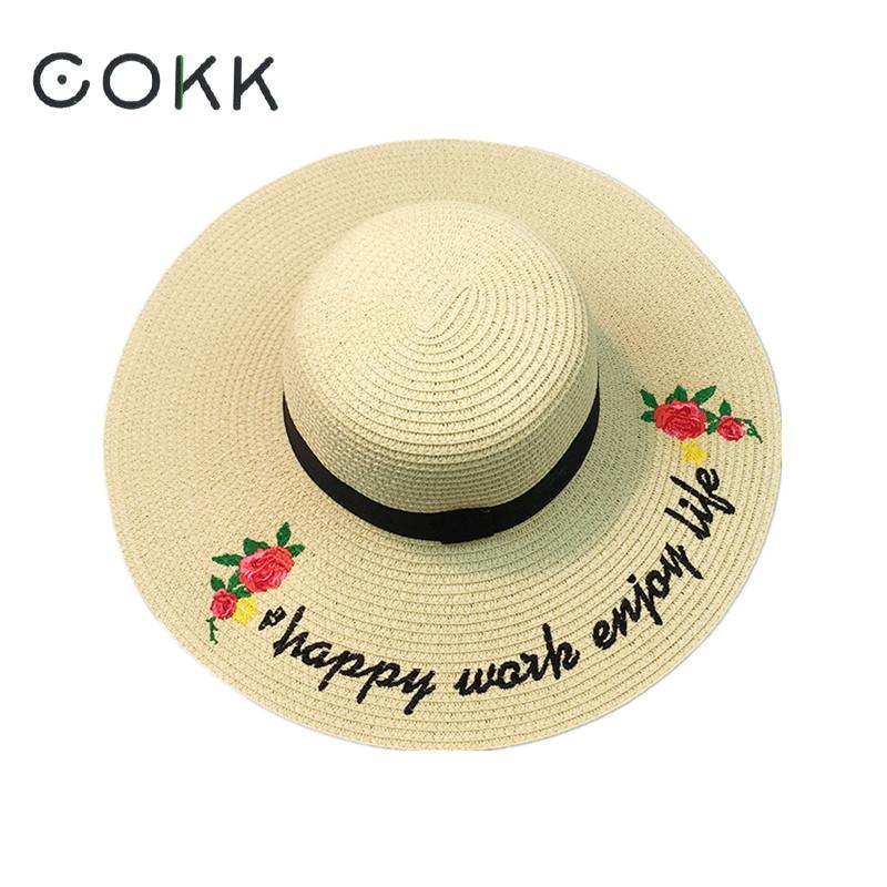 COKK Summer Hats For Women Large Wide Brim Sun Hat Vintage Flower Letter  Beach Panama Straw Hat Sunhat Visor Chapeau Femme Lady Bucket Hats For Men  Womens ... 79f6d9e99b8