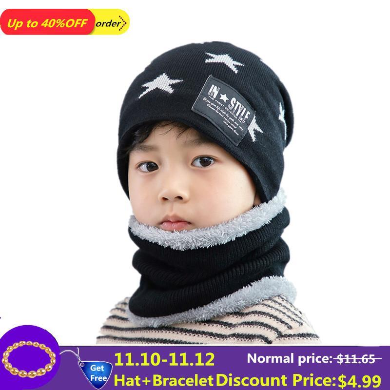 Compre 2 Unids Niño Invierno Pasamontañas Gorros De Punto Gorro Y Bufanda  Para 3 8 12 Años De Edad 86b91e4ac2b