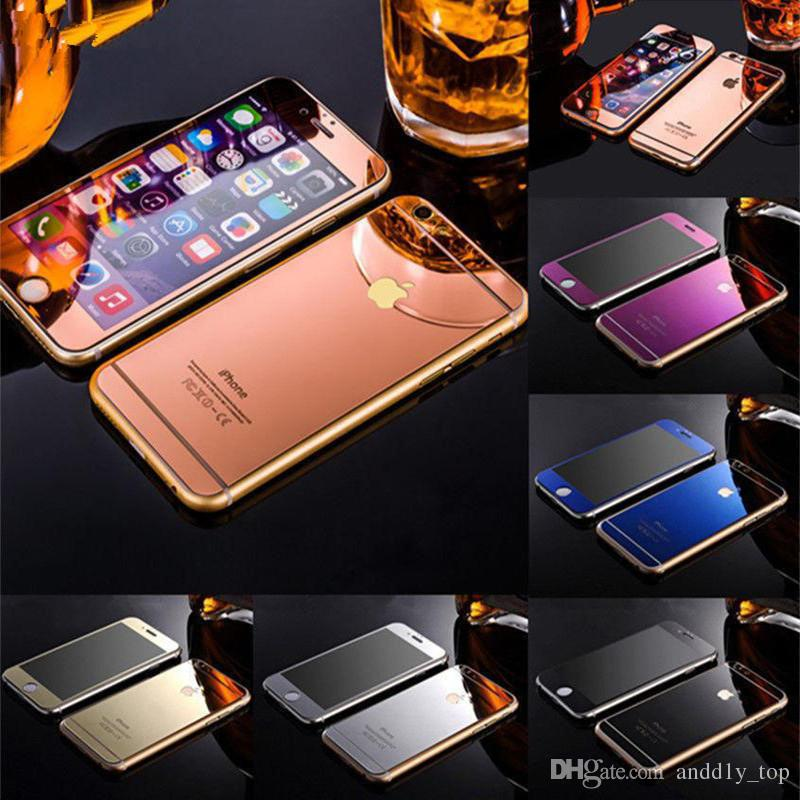 Gold Mirror Effect Colored Tempered Glass For iphone X ful Screen Protector Front and Back High Quality Explosion Proof