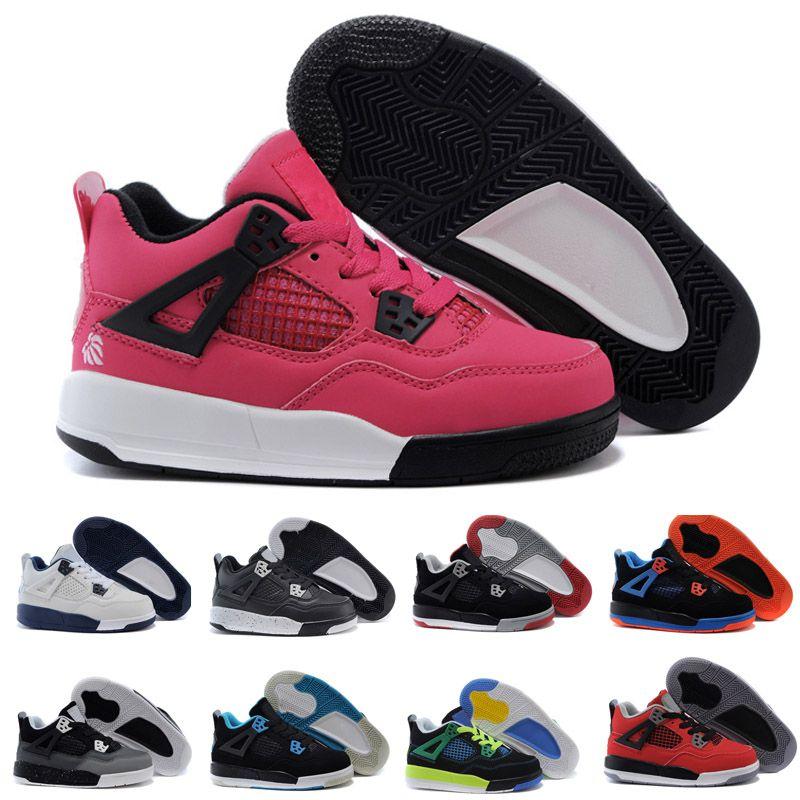 reputable site 67ed1 54cab Compre Nike Air Jordan 4 13 Retro 4s Pure Money Royalty White Cement  Premium Kids Zapatillas De Baloncesto Negro Bred Fire Rojo Niños Zapatillas  De Skate A ...
