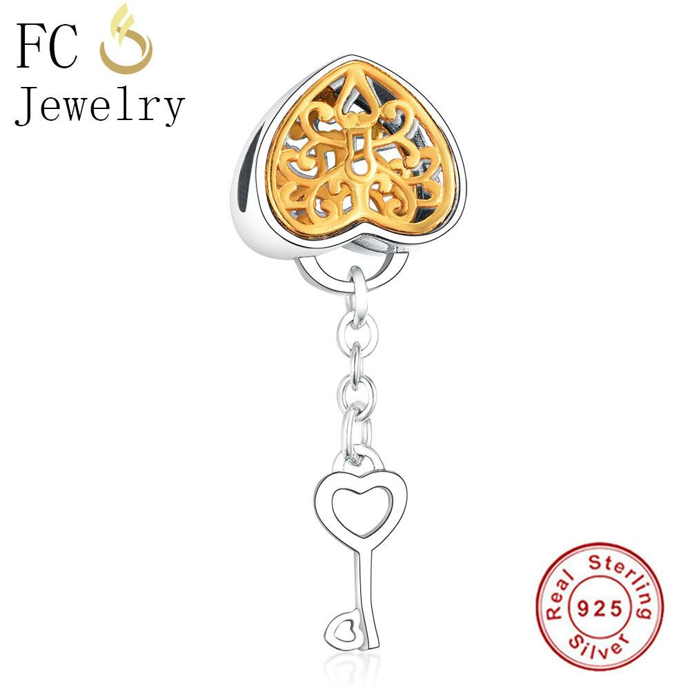 wholesale Jewelry Fits Original Pandora Charm Bracelet 925 Sterling Silver Summer Gold Color Heart Lock Key Pendant Bead Berloque 2018