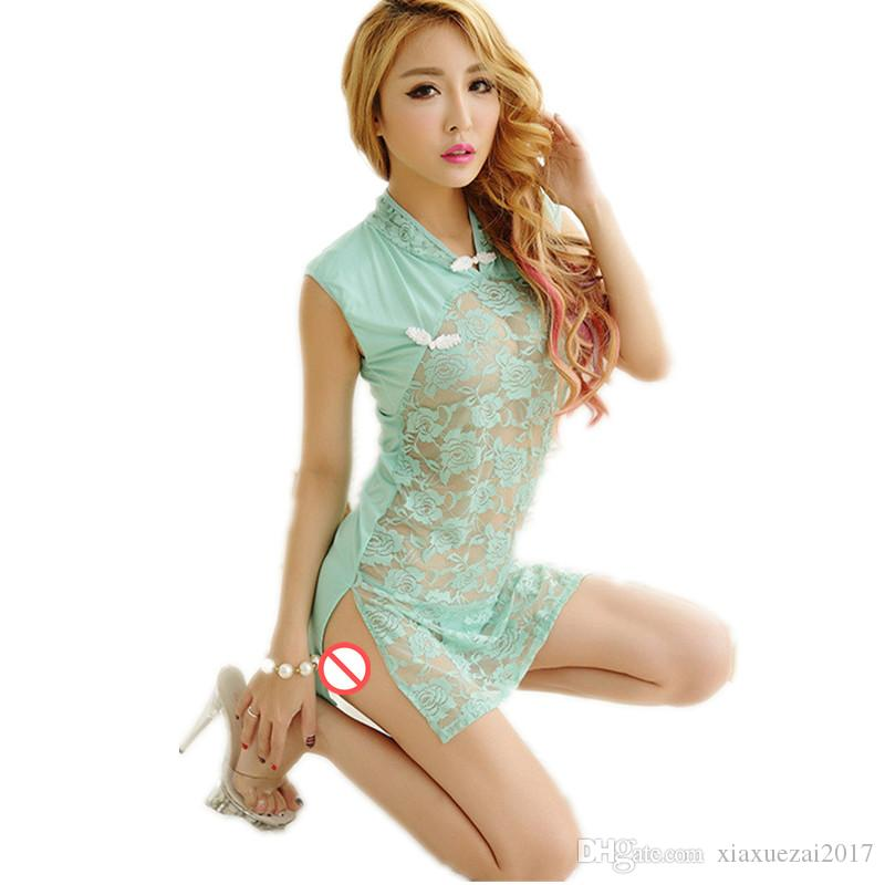 a9f6d4a90da 2019 Sexy Babydoll Lingerie Erotic Women Lace Sexy Costume Sleepwear Dress  Chinese Cheongsam Bodycon Transparent Hollow Out Chemise Underwear From ...
