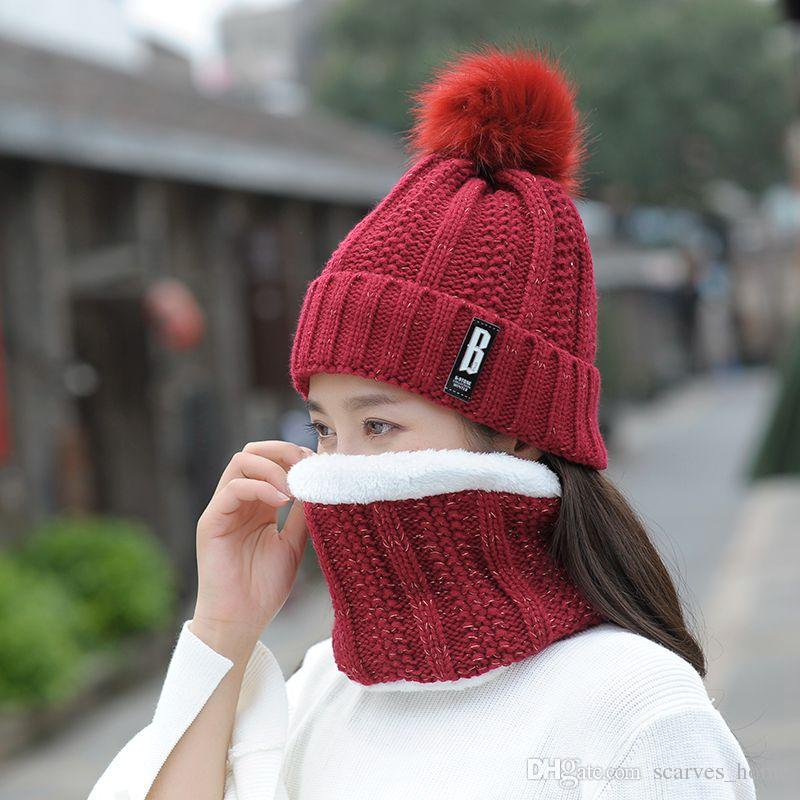 59a1048b407 2019 Fashion Winter Hat   Scarf Set For Women Girls Warm Beanies Ring Scarf  Pompoms Winter Hats Knitted Caps And Scarf From Scarves home