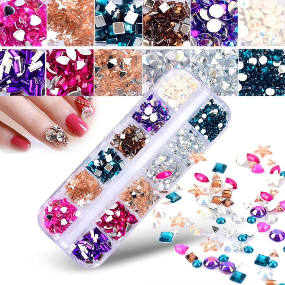 3ec5c05015 1 Box Multi Size Glass Nail Rhinestones Mixed Colors Flat-back AB Crystal  Strass 3D Charm Gems DIY Manicure Nail Art Decorations
