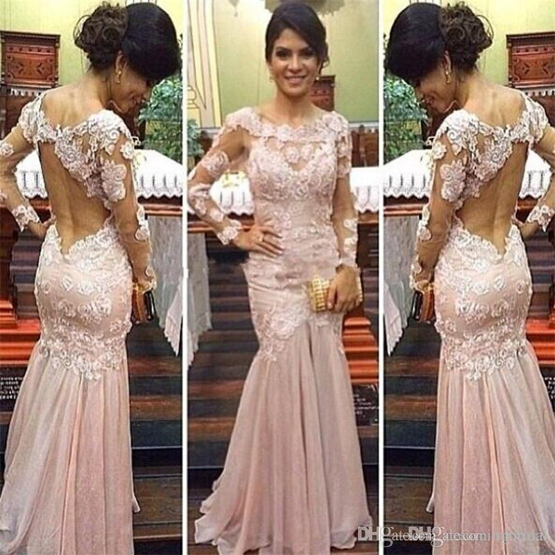 6361c9b3 Sexy Backless Mermaid Prom Dresses 2018 New Long Sleeve Lace Applique  Illusion Chiffon Scalloped Formal Evening Gown Party Dress Custom Made  Xscape Prom ...