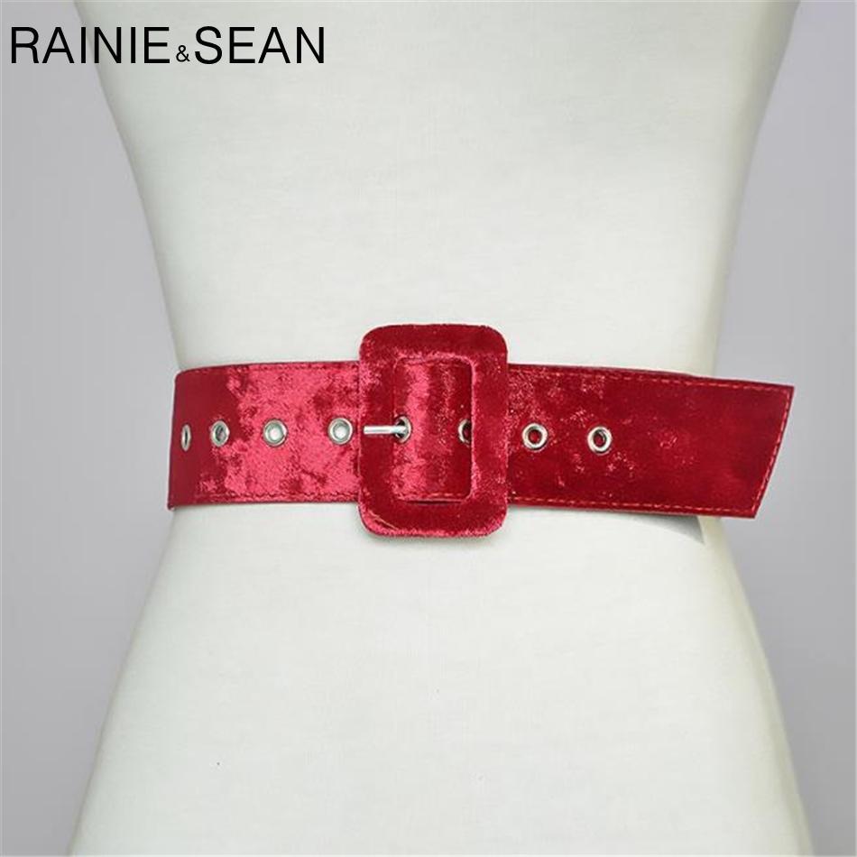 164c229709a8 Acheter Rainie Sean Rouge Suede Femmes Ceinture Boucle Boucle Ceintures  Dames Ceintures Pour Robes De Taille De La Mode Large Strap Accessoires 130  Cm De ...