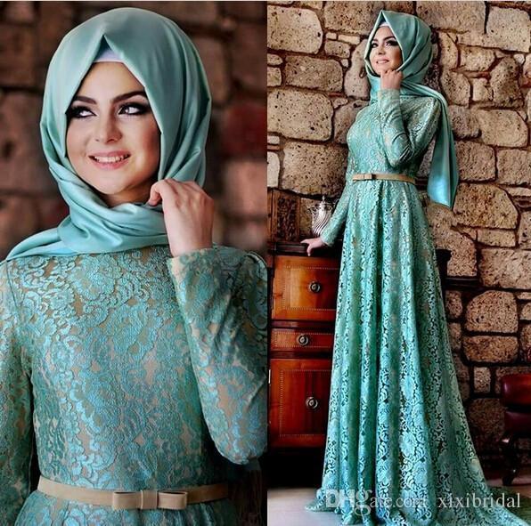 Elegant 2018 Muslim Evening Dresses A Line Long Sleeves Mint Green Lace Hijab Islamic Dubai Abaya Kaftan Long Prom Party Gowns