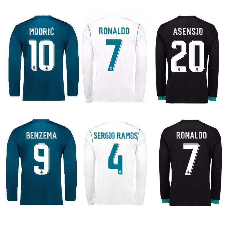 eedb88d7064 17 18 Real Madrid Long Sleeve Soccer Jersey Benzema Ronaldo Football ...