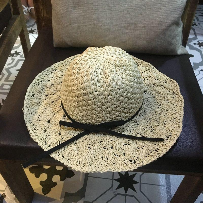 5c66e8ec4 Women Handmade Crochet Straw Beach Hat Large Brim Foldable Sun Hats Summer  Hat Female