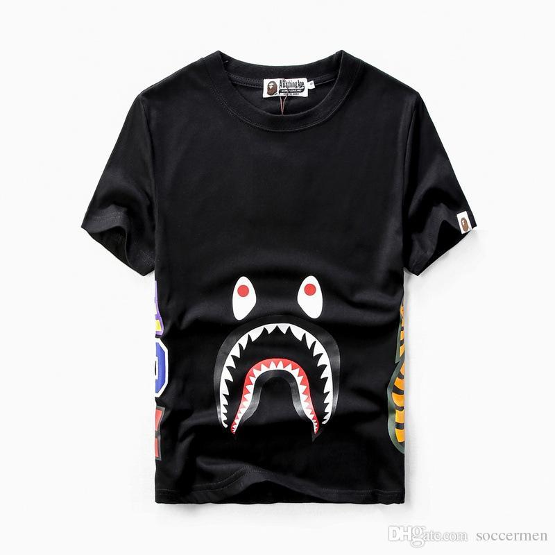 a96a532d Shark T-shirt Shark Mouth Print Short Sleeve Men's T-Shirt Top Quality Men  And Woman Casual Couple Hip Hop T-Shirt