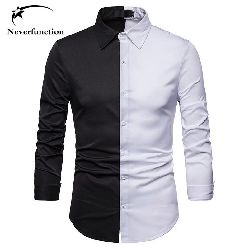 db51c8b06be 2019 Autumn Men 2018 Slim Fit Black White Stitching Color Casual ...