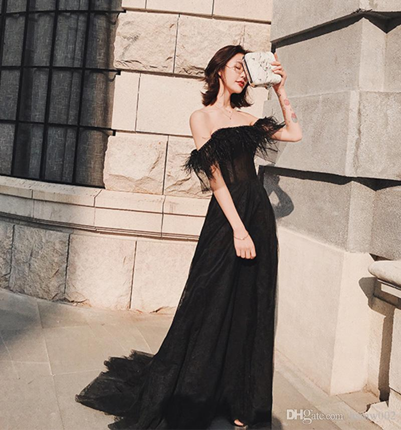e248e108fef89 Off Shoulder Black Tulle Evening Prom Dresses 2018 Sexy Strapless Neck  Feathers Sweep Train Evening Dresses Corset Formal Evening Gowns Evening  Dress Styles ...