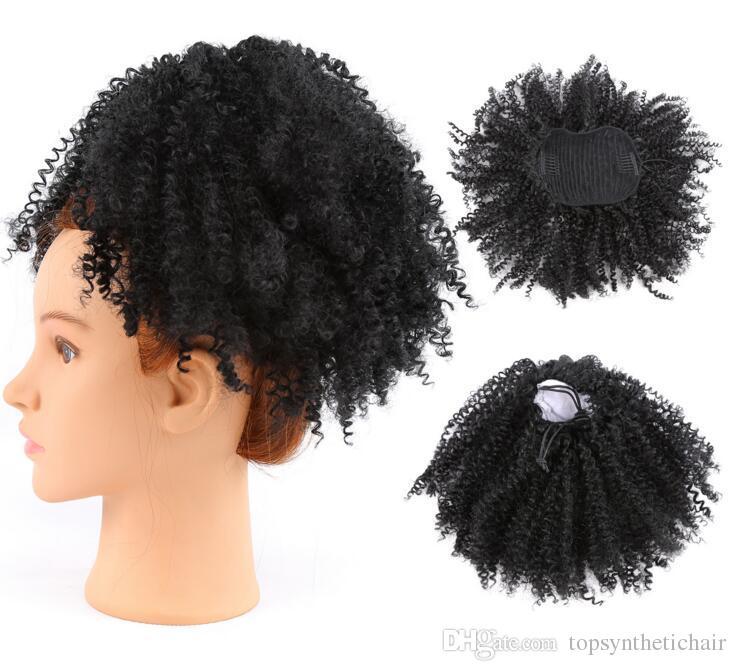 El cabello sintético cola de caballo pinzas de clip en corto alto afro rizado rizado cabello humano 95 g cordón de extensión de pelo de cola de caballo para mujeres negras
