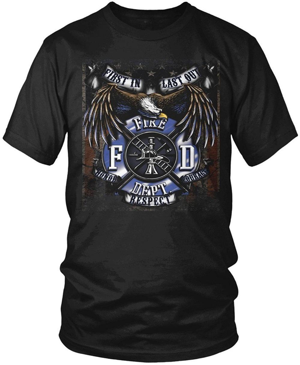 Screen Printing T Shirts Mens Crew Neck Short Sleeve Fire Dept