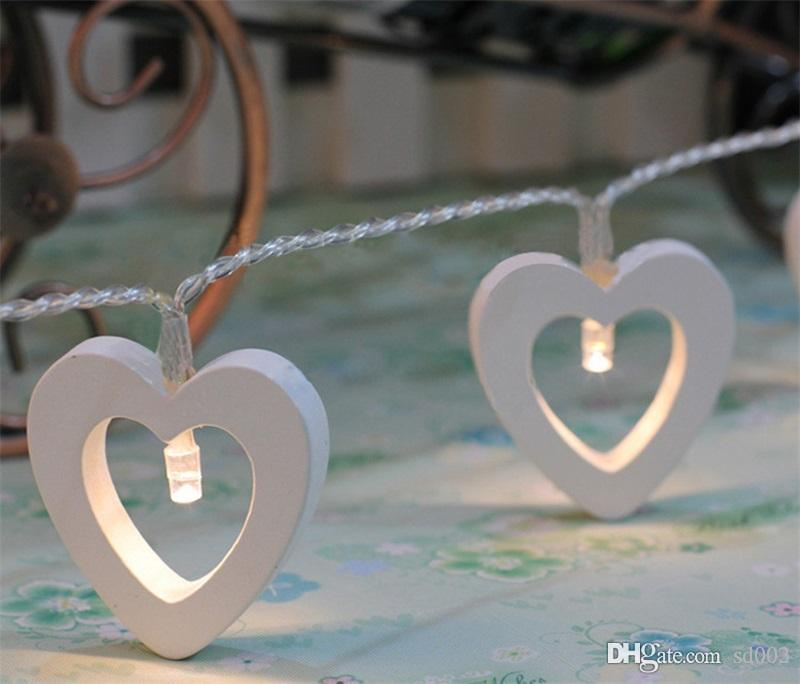 Bardian Decorative Lamps Love Heart Shape String Wooden LED Light For Christmas Xmas Wedding Decorations Trial Order 8xg dd
