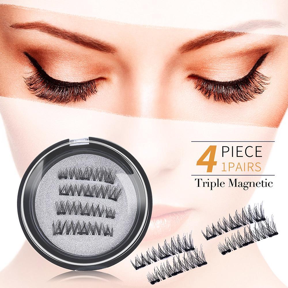 290bb8b9939 YOUSHA 4PCS 3D Magnetic Eyelashes +Tweezers Eyelash Extension Triple Magnet  False Eyelash Waterproof Natural Fake Lashes Makeup
