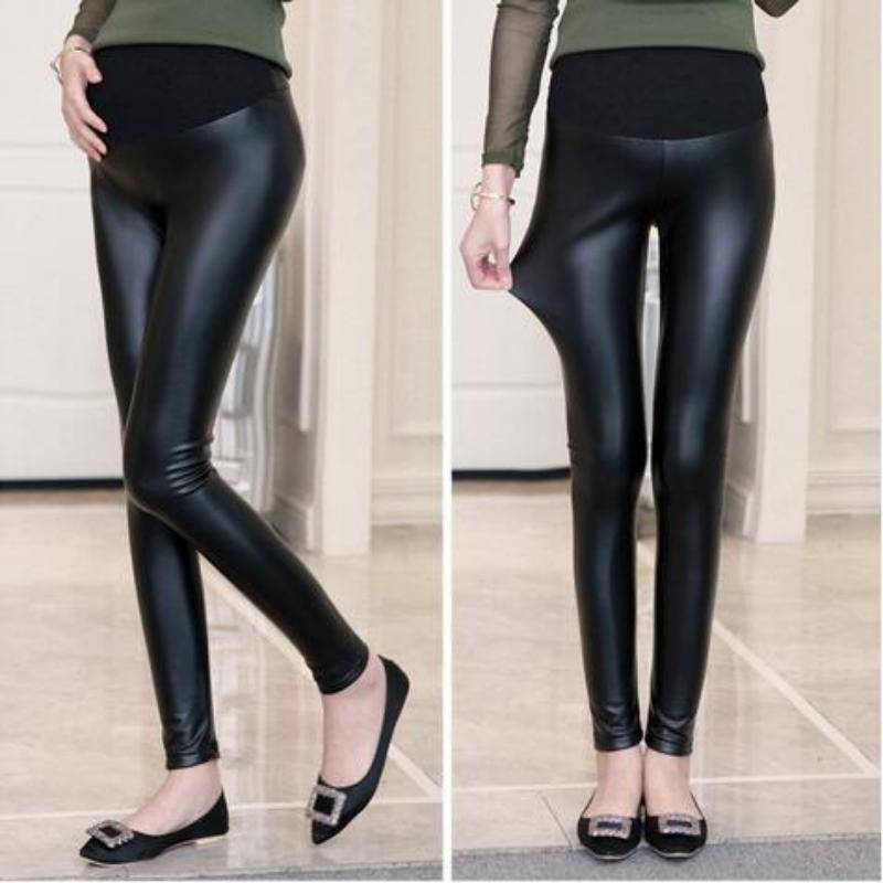 2e6bb2f3f3eaa7 2019 Large Size Winter Warm Pregnant Women Adjustable Maternity Leggings PU Leather  Pants Trousers Pantyhose Clothing Clothes From Askkit, $36.85 | DHgate.