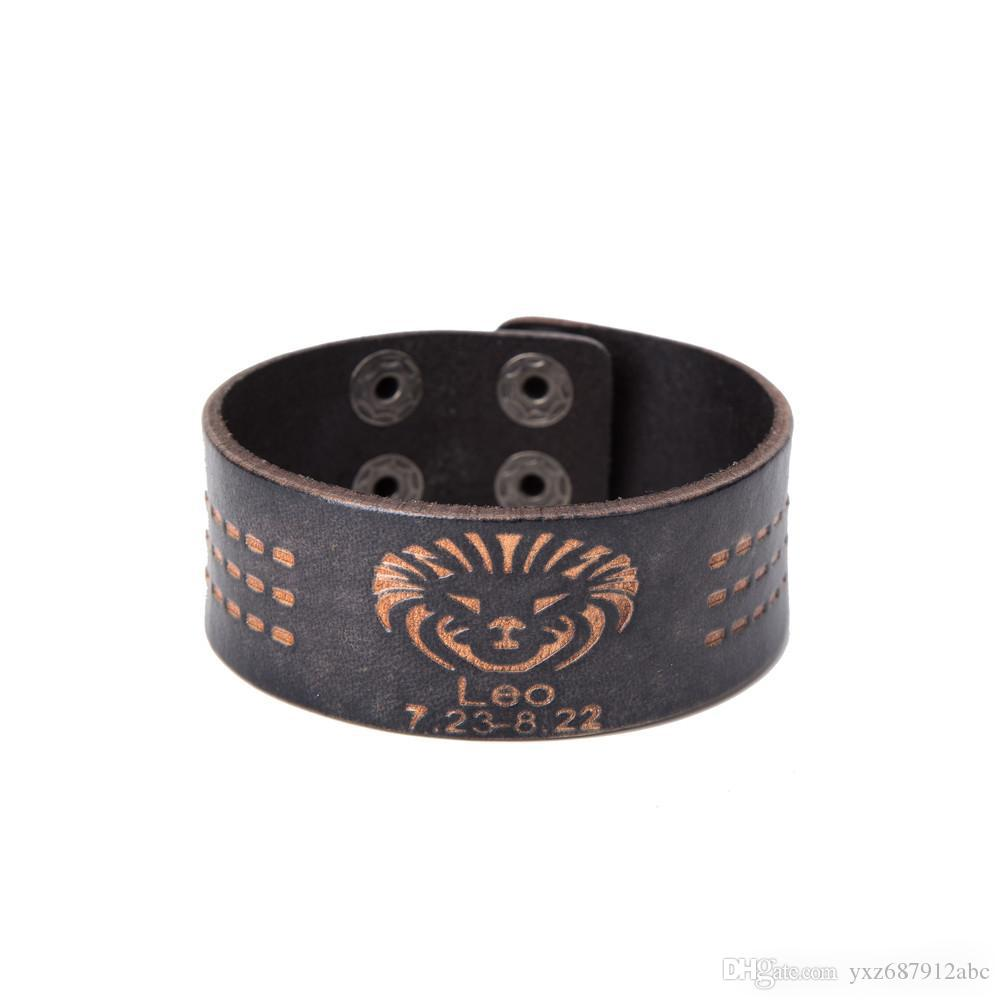 Leo 12 Zodiac Signs Punk Wrap Constellations Adjustable Fashion Leather Bracelets For Man Woman As Festival And Birthday Gifts Wholesale Charm