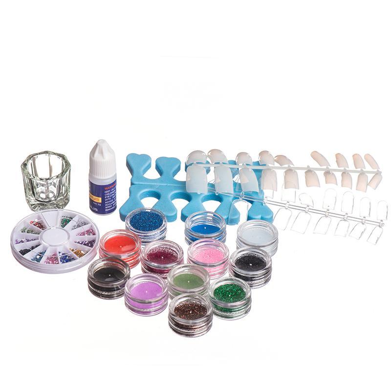 French False Nail Set Acrylic Liquid Glitter Powder Nail Art ...