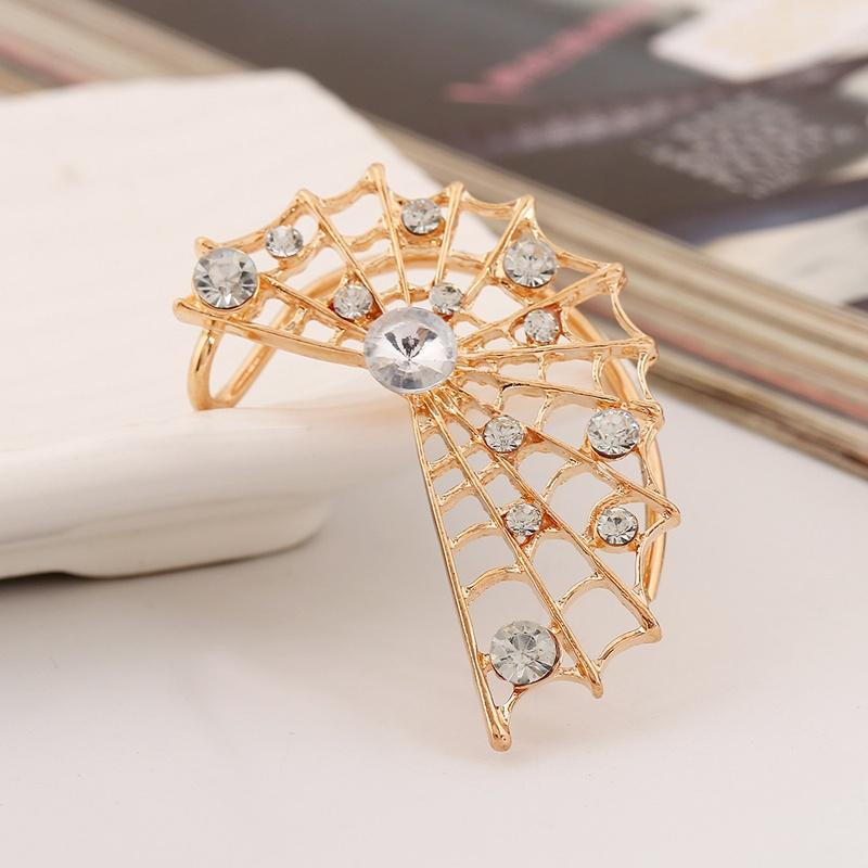 New European Stylish Drop Earrings Jewelry Earrings Fashion Spider Web Shiny Ear Cuffs Earrings For Women