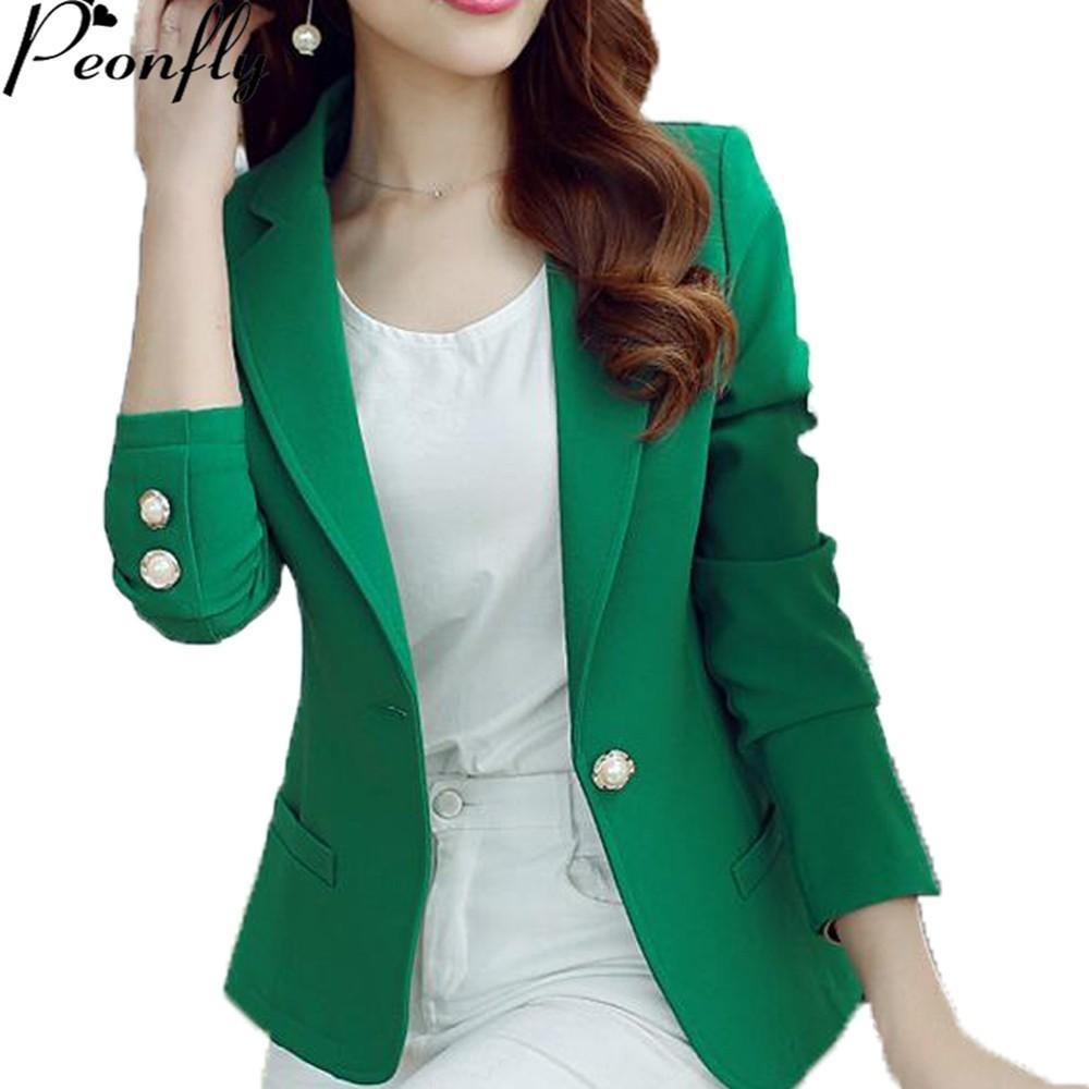 Compre PEONFLY Verde   Amarillo Solo Botón Mujer Blazers Mujeres 2018  Primavera Otoño Mujeres Chaqueta De Traje Blazer Femme Oficina Tops Abrigos  A  26.24 ... dc55cdcc4906
