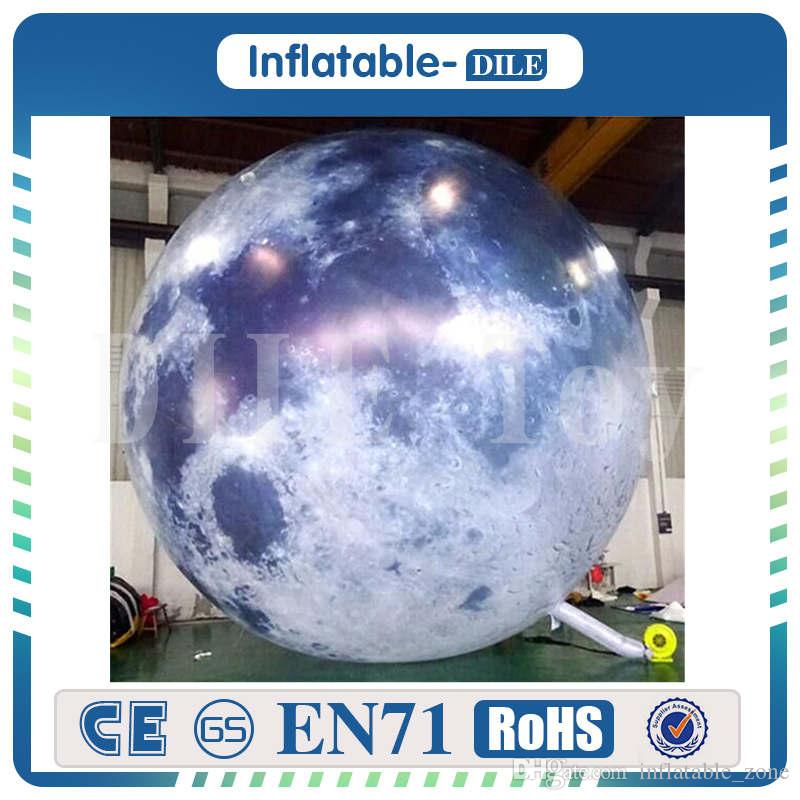 2.5m Giant Inflatable Moon Balloon Light Inflatable Sphere Planets Shape Balloons For Decoration