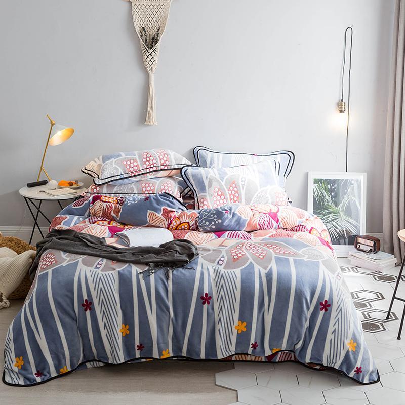 Winter Flowers Flannel Duvet Cover Set Queen Bedding Sets Soft Flannel  Duvet Cover Fleece Bed Sheet Pillow Case Bed Linens Comforter Sets Sale  Black And ...