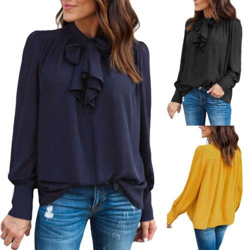 57162e5016e7 2019 Fashion Summer Women Blouses Casual Chiffon Long Sleeve Ladies Shirt  Women Clothes Loose Top Blouse From Illusory06